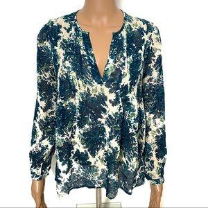 Joie 100% Silk Blue Floral Blouse